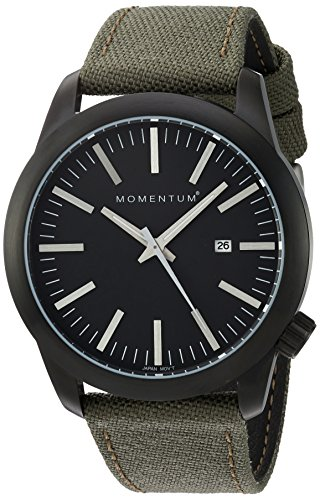 Momentum Men's Quartz Stainless Steel and Canvas Watch, Color:Black (Model: 1M-SP14B6G)