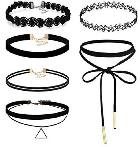 LLVogue 6 Stück Choker Halsketten Set Velvet Halskette Tattoo Halsband Schwarz Halsband