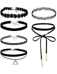 CargoMix® Frauen Mädchen Damen Zubehör 6 Stück Choker Halskette Set Stretch samt klassische gotische Tattoo Spitze Choker für Frauen Mädchen Damen