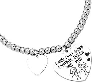 Beloved Bracciale da donna, braccialetto in acciaio emozionale - frasi, pensieri, parole con charms - ciondolo pendente - misura regolabile - incisione - argento - tema famiglia