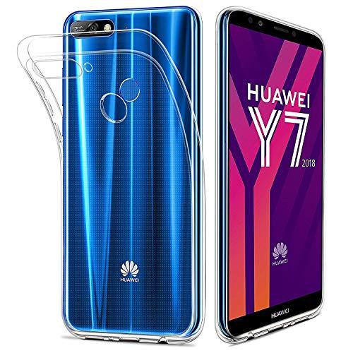 HOOMIL Durchsichtige Handyhülle für Huawei Y7 2018 Hülle, Silikon Transparent Schutzhülle für Huawei Y7 2018/Huawei Y7 Prime 2018/Honor 7C Case Cover, HD3487