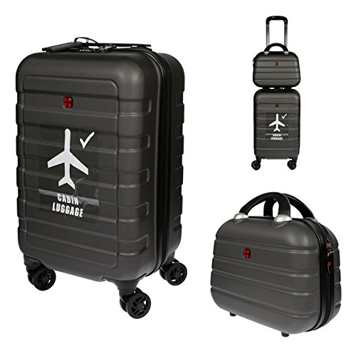 Christian Wippermann® Christian Wippermann Trolley Hartschale Reisekoffer 2in1 mit Beautycase