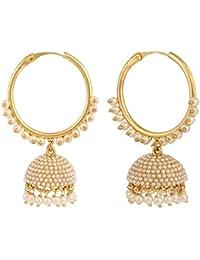 Sri Shringarr Fashion Traditional Micro Gold Polished Pearl Earrings for Women (EAR528ON)