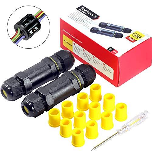 Kabelverbinder Wasserdicht IP68 Verbindungsbox Verbindungsmuffe 5-polig für Ø4-14mm Kabeldurchmesser 2er-Pack schwarz -