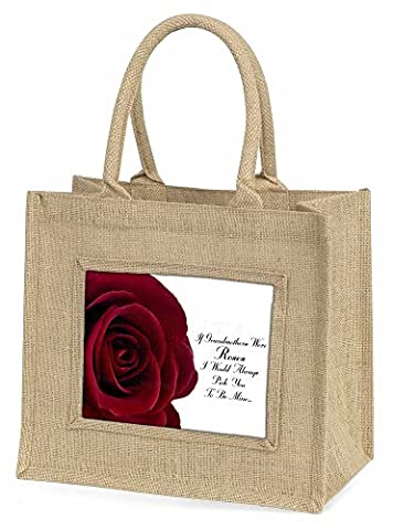 'If Grandmothers Were Roses' Large Natural Jute Shopping Bag Christmas