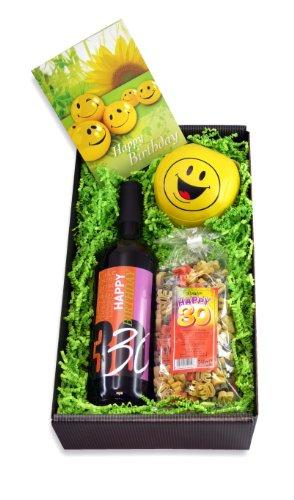 Geschenk zum 30. Geburtstag - Set mit Rotwein, Pasta und Geburtstagskarte