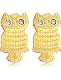 Spargz Gold Plated AD Stone Night Owl Designs Stud Earring For Women ALER 5129