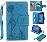 Cozy Hut Custodia Sony Xperia Z3, Sony Xperia Z3 Flip Custodia Cover Case, ragazza farfalle fiori gatto modello Creative Disegno stampa stile del libro Portafoglio Cover Case Strap in PU Cuoio Wallet Caso copertina con funzione di supporto e morbido TPU cassa interna per Sony Xperia Z3 - blu