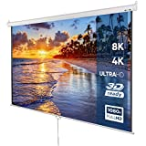 Jago Projector Screen (203x203cm / 113 inch) Wall-Mounted, 3D HD 4K Compatible, Retractable Screen Format: 1:1, 4:3, 16:9 and Others | Movie Screen, Home Cinema Theater, Workplace Presentations