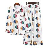 Pyjama en Coton à Manches Longues mis vêtements de Nuit Les Grandes Filles Les Femmes (Rond, L(42-44))