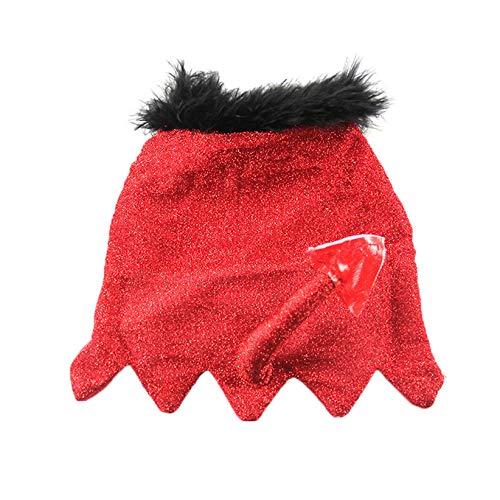 CWYPWDY Pet Kleidung Rote Glitter Haustier Katze Mantel Teufel Schwanz Kitty Mantel Baby Hund Katze Kostüm Kleidung