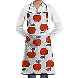 Marlon Kitty Grembiule da Cuoco Rosso Mele Dolci da Cuoco Progettato per Barbecue da Cucina, per Donna e per Uomo con Pettorina Regolabile