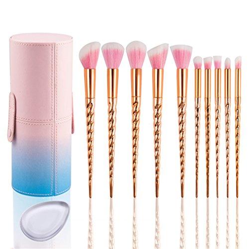 Coffret de 10 pinceaux de maquillage Kabuki Fashion Base® - Professionnels - De qualité supérieure - Manche au dégradé arc-en-ciel, diamant synthétique - Pour mélanger le fond de teint, mettre le blush, la poudre, l'eyeliner,