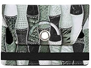 Jkobi Premium Leather Tablet Book Flip Case Cover For iBall Slide 3g 17 Tab Tablet (Universal) - Green Abstract Design