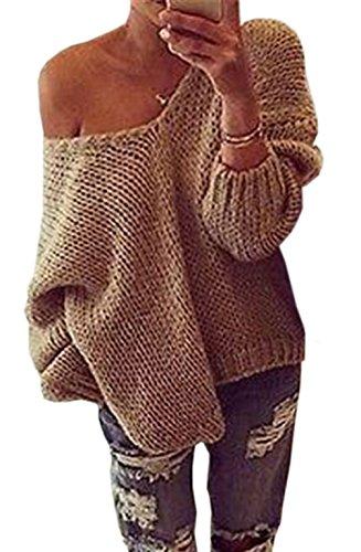 Donna Autunno Inverno Sexy V-Collo Manica Lunga Maglieria Maglione Maglie Sciolto Maglia Maglioni Pullover Tops Jumper Cachi