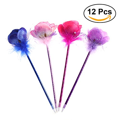 NUOLUX Penna a sfera con quattro penne aromatiche aromatiche Penne a forma di fiore Penne a inchiostro blu a fiori 12pcs