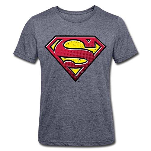 Shirt Of Mann Steel Kostüm - DC Comics Superman Logo Used Look Männer Polycotton T-Shirt, M, Navy meliert