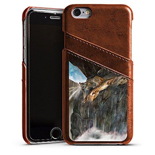 Apple iPhone 4 Housse Étui Silicone Coque Protection Félin Sauvage Étui en cuir marron