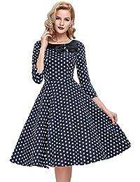 7caf428adea80 Belle Poque Women s 3 4 Sleeve Polka Dots 1950s Retro Vintage Swing Dresses