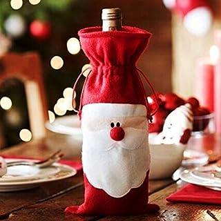 Aliciashouse Christmas Santa Claus Wine Bottle Bag Cover Dinner Party Table Decor