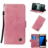 BONROY Compatible with Samsung Galaxy S7 Case, Slim Fit Leather Wallet Flip Cover with Stand-(TX-Retro Pink)