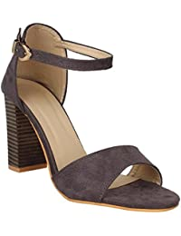 GLITZY GALZ Grey Ankle Strap Buckled Block Heel