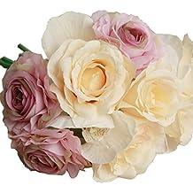 Flores Artificiales,Xinan Flores de Rosa Decoración para Hogar Boda (Púrpura)