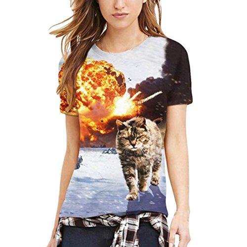 KIMODO Womens 3D Cat Lovers Printing Tees Shirt Short Sleeve T-Shirt Blouse Tops