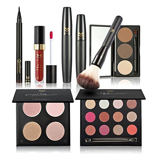 Frcolor Set de maquillage - fard à paupières, Mascara, eye-liner, sourcils poudre, Pinceau fard à joues, brillant à lèvres, 4 couleur poudre