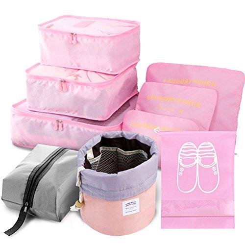 9 Set Organizador de Viaje Cubos de Embalaje Incluye Bolsas para Calza