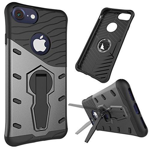 Für Apple IPhone 7 Shell Case 2 In 1Tough Hybrid Heavy Duty Shock Proof Defender Cover Dual Layer Armor Combo Mit 360 ° Swivel Stand Schutzhülle Fall ( Color : Gold ) Black
