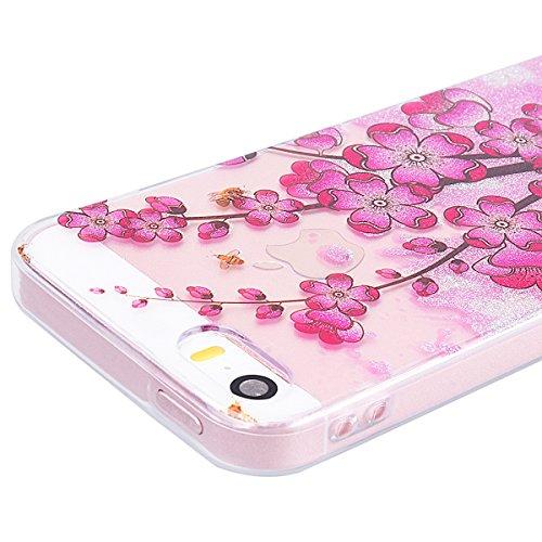 WE LOVE CASE Coque iPhone 5 / 5s / SE, Transparente en Premium Gel Coque iPhone SE Silicone Souple Mince et Clair, Coque de Protection Bumper Gel Motif Fleur Coque Apple iPhone 5 iPhone 5S iPhone SE C Rose De Prunelle