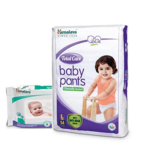 Himalaya Total Care Baby Pants (Large 54 Count) with Wipes (72 Count)