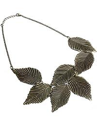 TOOGOO (R) Collar Cadena Corta Aleacion De Zinc de bronce de las hojas vendimia