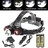 Taschenlampe,BBring Scheinwerfer 8500Lm XML T6 + 2R5 3 LED-Hauptlicht-Fackel + Auto / USB-Aufladeeinheit + 2X18650