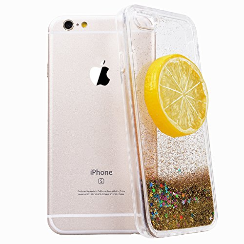 WE LOVE CASE Coque iPhone 6, Coque Liquide de Protection en Premium Hard Bling Plastique Paillette Sparkle Glitter Dur Coque iPhone 6S Anti Choc Bumper, Anti-Rayures Anti-dérapante Coque Apple iPhone  Citron Jaune