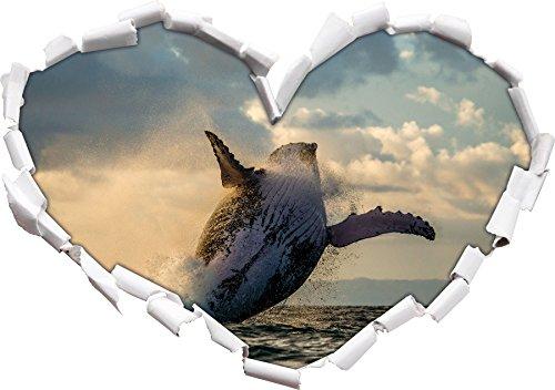 Stil.Zeit Buckelwale Kanada Herzform im 3D-Look, Wand- oder Türaufkleber Format: 92x64.5cm, Wandsticker, Wandtattoo, Wanddekoratio