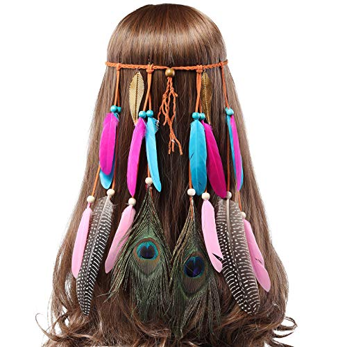 AWAYTR Feder Kopfschmuck indisch Festival Stirnband - Hippie Pfau Feder Kopfstücke mit Goldene Blätter Einstellbar indisch Feder Festival Stirnband zum Frauen Mädchen (Goldenes ()