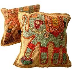 2pcs Hecho a mano apliques único Patchwork étnico indio elefante fundas de cojín de almohada de mantas, algodón, marrón, 16 X 16 Inches
