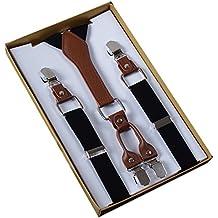 Panegy - Tirantes Para Pantalones Faldas con 4 Clips Para Hombre Mujer Tirantes Unisex Y-Forma (2.5*110cm) Adjustable Clásico Elegante