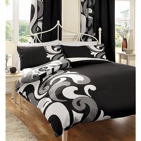 Grandeur Negro/Gris Impreso Juego de cortinas con alzapaños–66