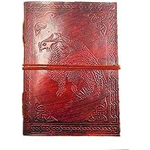 Chic & Zen–Cuaderno/bloque Note/diario/libro, piel auténtica, Vintage, Dragon Medieval, 13cm * 17cm