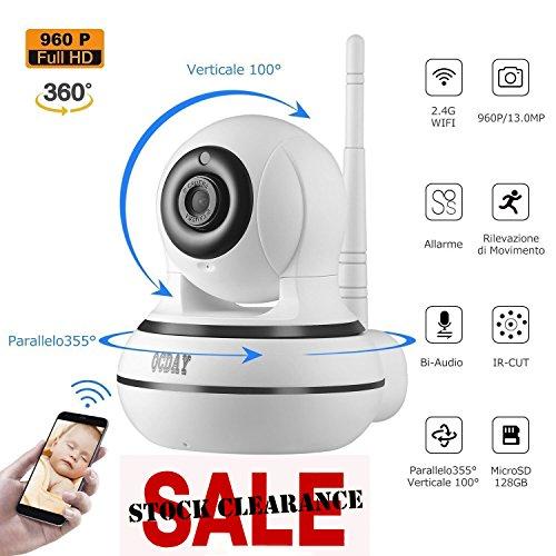 Galleria fotografica OCDAY Telecamera IP 960P HD WIFI 360°Visione Notturna Due Vie Audio Video Monitor del Bambino Rilevazione di Movimento