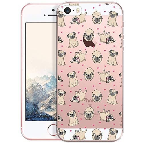 OOH!COLOR Handyhülle kompatibel mit iPhone 5 iPhone SE iPhone 5s Hülle Silikon Hund Motiv transparent dünn Schutzhülle durchsichtig Case Mops (EINWEG) Iphone 5 Tier