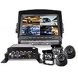 AZWE Kit di telecamera e monitor di backup, registratore a disco rigido a quattro vie Il sistema di videosorveglianza Dvr è adatto per autobus camion scuolabus