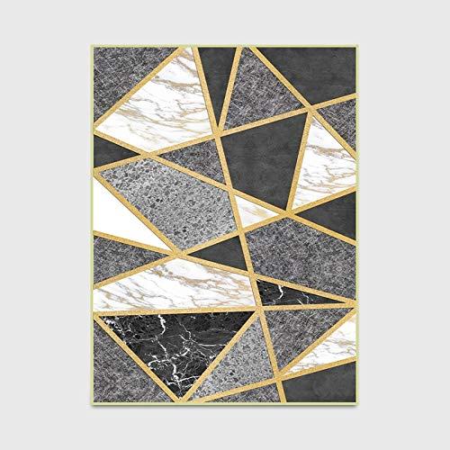 Geshu Stilvolle Moderne Metall Gold Teppich grau schwarz geometrische Schlafzimmer Bereich Teppich Wohnzimmer Teppich Wohnzimmer Parkett dekorative Bodenmatte -
