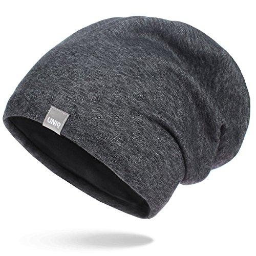 UNIQ Long Beanie Strickmütze | Damen und Herren | Slouch Mütze Oversize Unisex Atmungsaktiv meliert Baumwolle | für das ganze Jahr | weicher Stoff - dunkelgrau