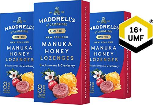 Haddrell's Manuka Honig Lutschbonbons 3er Pack - Schwarze Johannisbeere und Cranberry MGO 550+ (UMF 16+) (3 x 22,4 g)