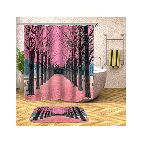 Amody Fußmatte Badezimmer Set Baumpfad 180x200CM Bilder Duschvorhang 40x60CM Badematte für Dusche