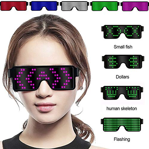 LED Brille Glow Party Favor, USB Aufladbare Brille mit LED Display, 8 Muster optional, Nachtclub, Weihnachten, Geburtstag Party Supplies Free Size blau (Geburtstag Party Supplies Glow)